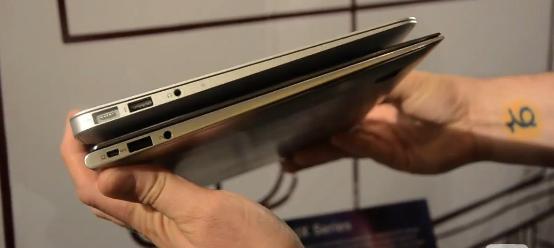 Like tykk som en MacBook Air, men mye tynnere enn Apples MacBook Pro.